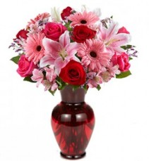 Luxurious Fresh Flower Vase Fresh Roses, Stargazer Lilies, Daisies and More!