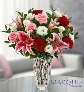 Marquis Waterford Blushing Rose and Lily Bouquet Fresh Arrangement in Vienna, WV | FOX'S FLORAL AND GIFTS