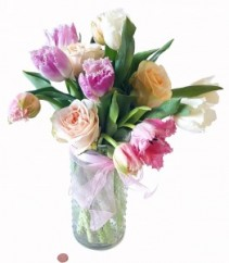 Medium Garden Roses and Frill Tulips
