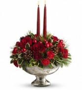 Mercury Glass Bowl Bouquet Christmas centerpiece