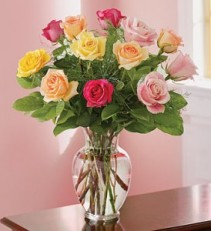 MIXED COLOR ROSES DOZEN MIXED COLOR ROSES VASED