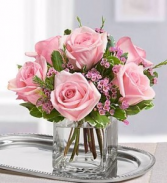 CUBE VASE WITH 6 PINK ROSES WITH FILLER!