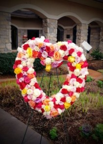 Multi Rose Colored Heart Standing Spray