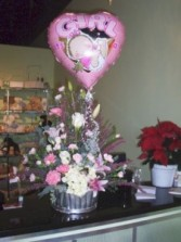 New Baby Flower Arrangement mix basket with baloon