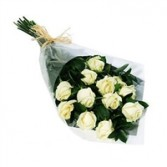 One Dozen WHITE Rose Bokay Wrapped