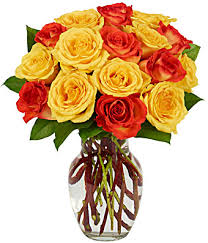 Buy 1 Dz Yellow or Orange Roses and Get 1 Dz. Free Hot Summer Special on Seasonal  Bi Color Yellow and Orange Roses! in Margate, FL | THE FLOWER SHOP OF MARGATE