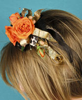 ORANGE ROSES Prom Hairpiece in South Lyon, MI | PAT'S FIELD OF FLOWERS