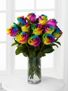 Over the Rainbow Roses Arrangement in Wilton, NH | WORKS OF HEART FLOWERS