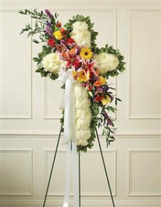 Peace and Prayers Standing Cross Funeral - Sympathy in Crestview, FL | The Flower Basket Florist
