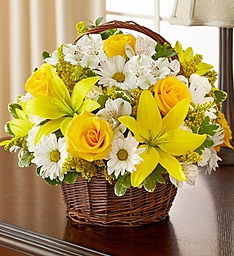 Peace, Prayers, & Blessings- Yellow and White Flower Basket