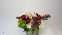 Peonies and Exotic tulips mix Low rectangular.