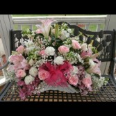 Pink and White Funeral Basket Sympathy