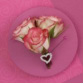 Pink Roses with Heart Boutniere Graduation or Prom Flowers In DC