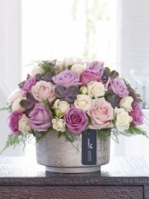 Plumful pinks Vase arrangement of roses and succulents