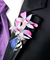 POSH PURPLE ORCHIDS Prom Boutonniere in Muskego, WI | POTS AND PETALS FLORIST INC.