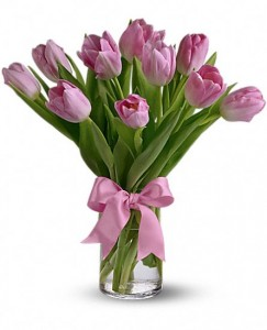Precious Pink Tulips Arrangement