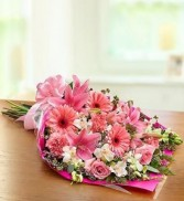 Pink Presentation bouquet Flowers wrapped in cello