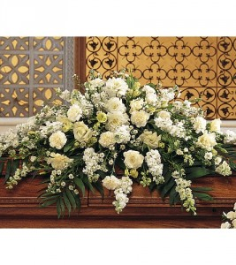 Pure White Casket Spray TF194-1  in Hesperia, CA | ACACIA'S COUNTRY FLORIST