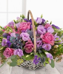 PURPLE 4 RUSTIC BASKET ARRANGEMENT