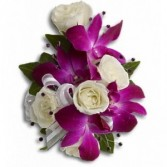 Purple Dendrobium Orchid and white rose Corsage