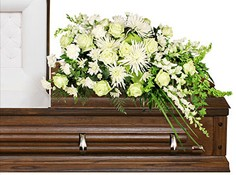QUIET COMMEMORATION Casket Arrangement in Olathe, KS | THE FLOWER PETALER