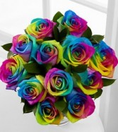 Rainbow Roses Loose or In A Vase in Prospect, CT | MARGOT'S FLOWERS & GIFTS