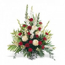 Red and White Sympathy Arrangement Funeral Tribute Spray