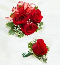 RED ROSE CORSAGE & BOUTONNIERE