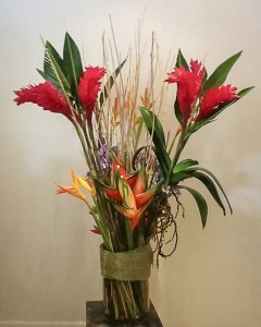 Red Ginger & Heliconia with Tropical Foliage va-118