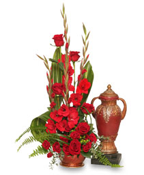 RED REMEMBRANCE Cremation Flowers  (urn not included)  in Deer Park, TX | BLOOMING CREATIONS FLOWERS & GIFTS