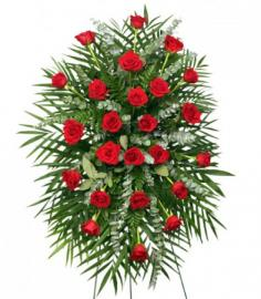 RED ROSES STANDING SPRAY of Funeral Flowers in Hope, AR | HOPE FLORAL & GIFTS