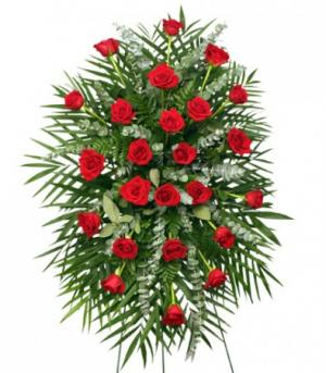 RED ROSES STANDING SPRAY of Funeral Flowers in Pembroke, MA | CANDY JAR AND DESIGNS IN BLOOM