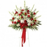 Red & White Basket On Stand