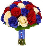 RED WHITE & BLUE ROSES BRIDAL BOUQUET in Clarksburg, MD | GENE'S FLORIST & GIFT BASKETS