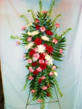 RED,WHITE, BLUE STANDING EASEL FUNERAL FLOWERS