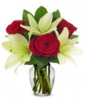 Rose and Lily Romance Vase Arrangment