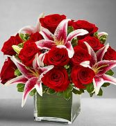 Roses and Lily Cube Lastest Style and Fashion Trendy Arrangement