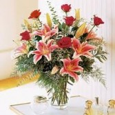 ROSES AND STARGAZERS Vase Arrangement in Edison, NJ | E&E FLOWERS AND GIFTS
