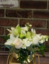 Roses, Lilies & Stock in Bubble Bowl Centerpice