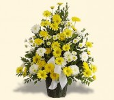 Sympathy arrangement in yellows and whites.