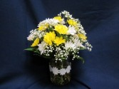 Short Hobnail Vase with Daisies,  $39.95