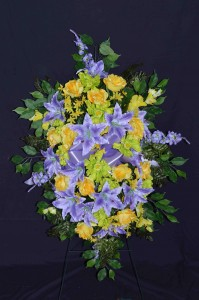 Silk Sympathy Mixed Standing Sprays Funeral Flowers