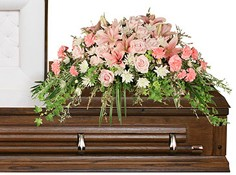 SOFTLY AT REST Casket Arrangement in Rochester, NH | LADYBUG FLOWER SHOP, INC.