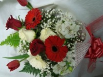 Miami Colors Presentation Bouquet!!! Mixed flowers in Red and White...roses,lillies,tulips,baby's breath,large gerbera daisies