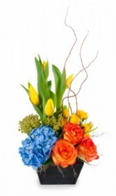 Spring Delight Roses, Tulips and Blue Hydrangea in wooden vase