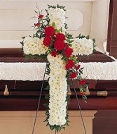 Standing Cross With Roses Sympathy Flower Delivery In DC