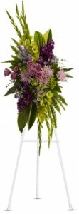 SS 10--Standing spray of mixed flowers Flowers and colors may vary