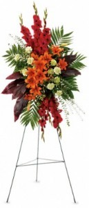 SS 1-Standing spray of mixed flowers Flowers and colors may vary
