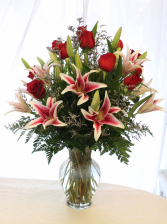 ROSES AND STARGAZER LILIES ARRANGEMENT