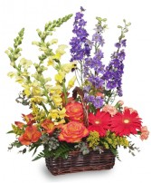 SUMMER'S END Basket of Flowers in Caldwell, ID | BAYBERRIES FLORAL